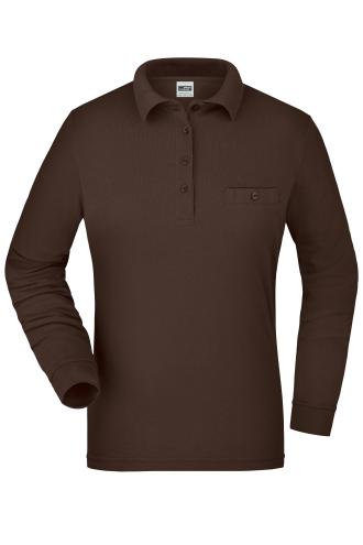 Ladies Workwear Polo Pocket Longsleeve - brown