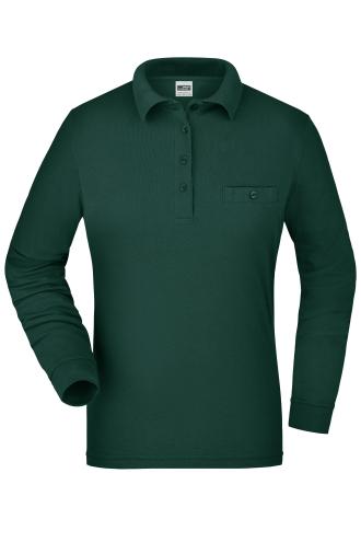 Ladies Workwear Polo Pocket Longsleeve - dark-green