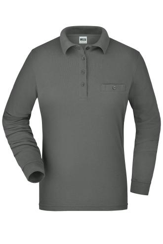 Ladies Workwear Polo Pocket Longsleeve - dark-grey