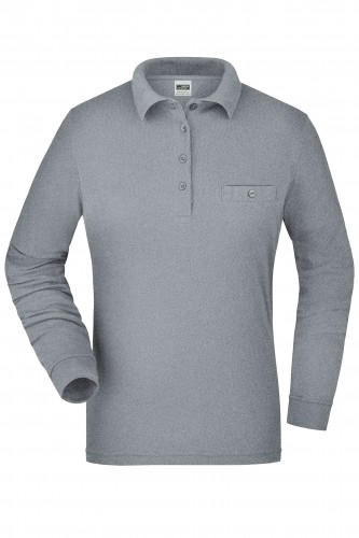 Ladies Workwear Polo Pocket Longsleeve - grey-heather