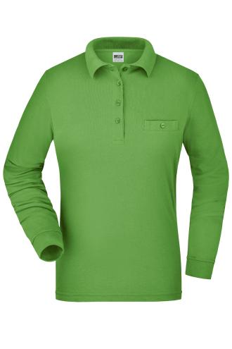 Ladies Workwear Polo Pocket Longsleeve - lime-green