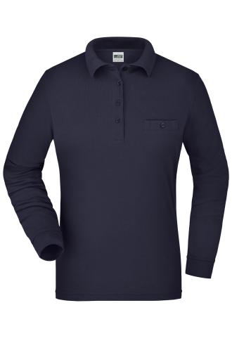 Ladies Workwear Polo Pocket Longsleeve - navy