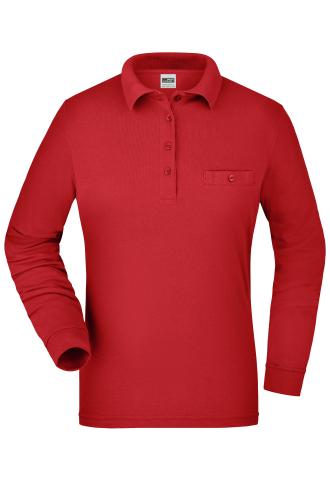 Ladies Workwear Polo Pocket Longsleeve - red