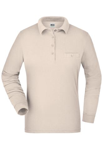 Ladies Workwear Polo Pocket Longsleeve - stone