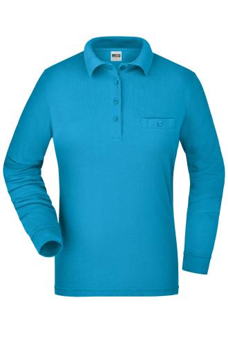 Ladies Workwear Polo Pocket Longsleeve - turquoise