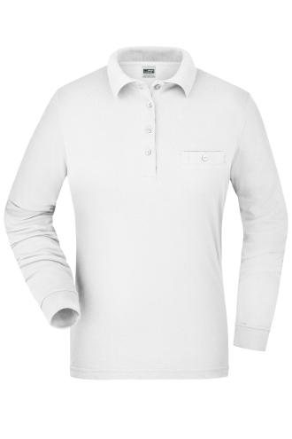 Ladies Workwear Polo Pocket Longsleeve - white