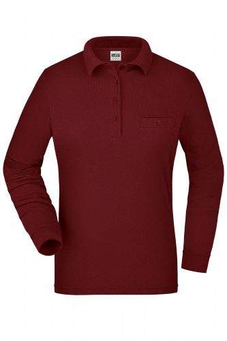 Ladies Workwear Polo Pocket Longsleeve - wine