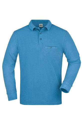 Mens Workwear Polo Pocket Longsleeve - aqua