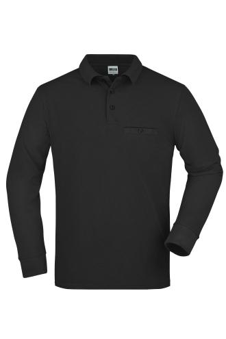 Mens Workwear Polo Pocket Longsleeve - black