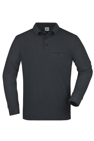Mens Workwear Polo Pocket Longsleeve - carbon