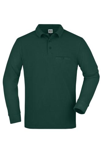 Mens Workwear Polo Pocket Longsleeve - dark-green