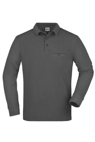 Mens Workwear Polo Pocket Longsleeve - dark-grey