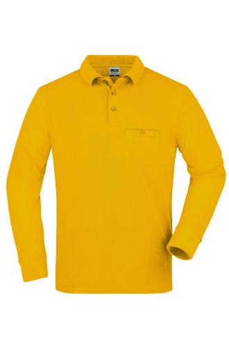 Mens Workwear Polo Pocket Longsleeve - gold-yellow