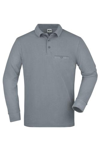 Mens Workwear Polo Pocket Longsleeve - grey-heather