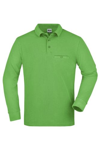 Mens Workwear Polo Pocket Longsleeve - lime-green