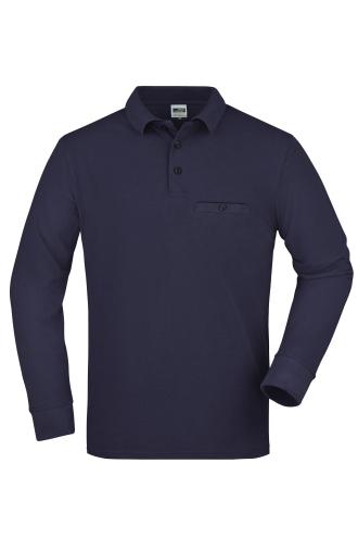 Mens Workwear Polo Pocket Longsleeve - navy