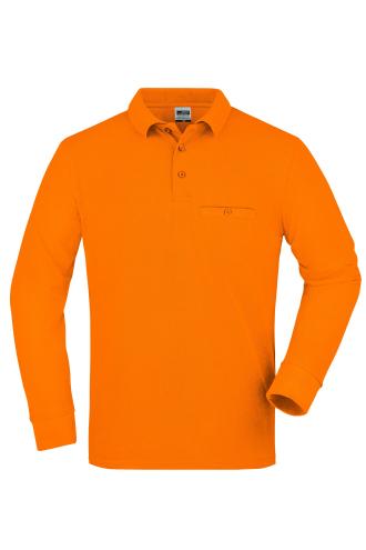 Mens Workwear Polo Pocket Longsleeve - orange