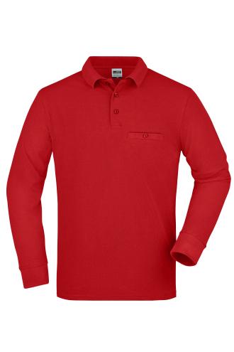 Mens Workwear Polo Pocket Longsleeve - red
