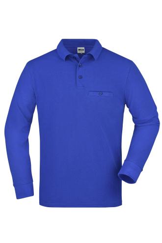 Mens Workwear Polo Pocket Longsleeve - royal