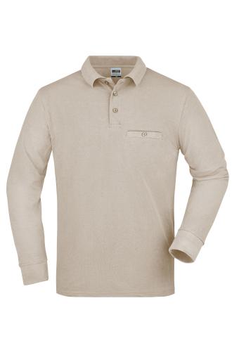 Mens Workwear Polo Pocket Longsleeve - stone