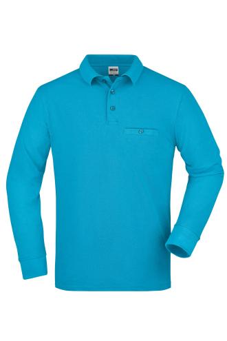 Mens Workwear Polo Pocket Longsleeve - turquoise