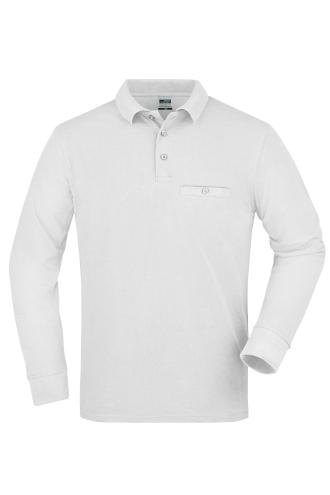 Mens Workwear Polo Pocket Longsleeve - white