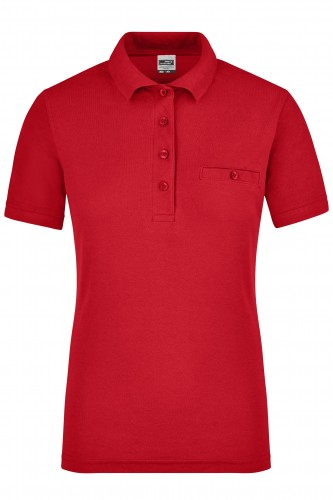Ladies Workwear Polo Pocket - red
