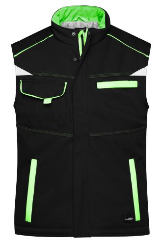 Workwear Softshell Padded Vest - COLOR - black/lime-green