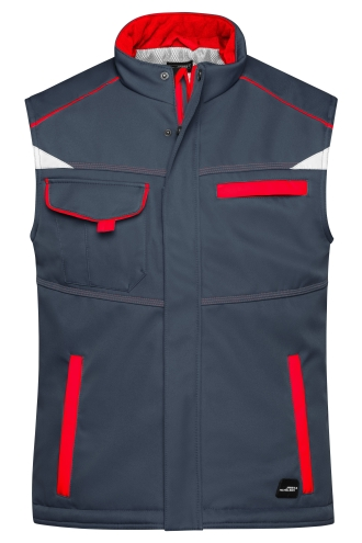 Workwear Softshell Padded Vest - COLOR - carbon/red