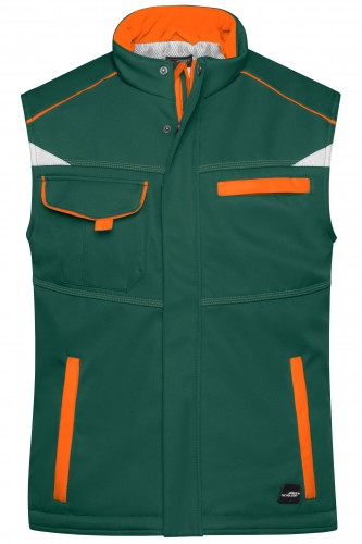 Workwear Softshell Padded Vest - COLOR - dark-green/orange