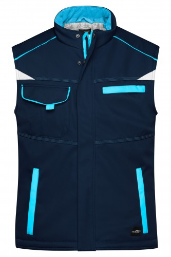 Workwear Softshell Padded Vest - COLOR - navy/turquoise