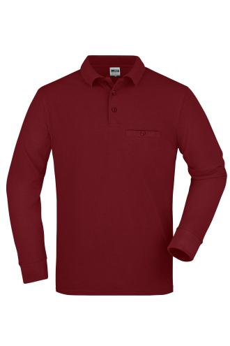 Mens Workwear Polo Pocket Longsleeve - wine